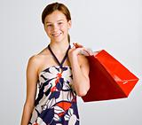 Teenage girl holding shopping bag