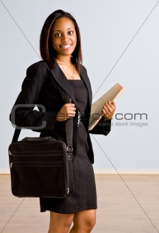 African businesswoman with briefcase