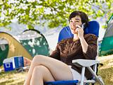 Camper talking on cell phone