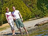 Couple standing near stream
