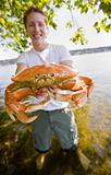 Man holding crab