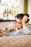 Sick Woman in Bathrobe