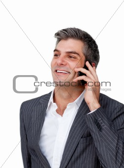 Attractive businessman on phone