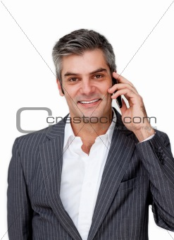 Smiling businessman on phone