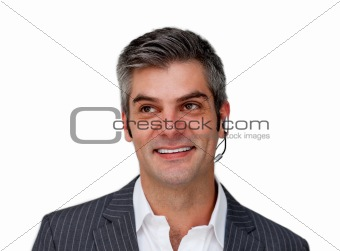 Positive businessman using headset