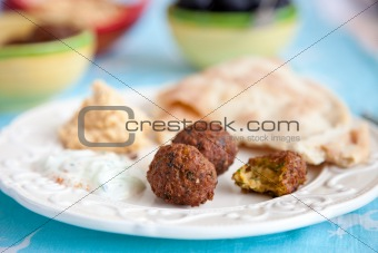 Falafel and mezze table