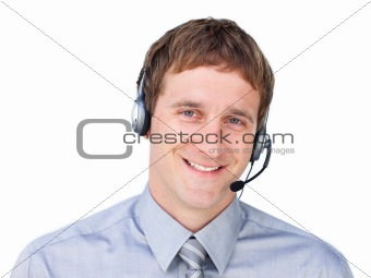 Charming Customer service agent talking on headset against a white background