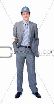 Charismatic male architect wearing a hardhat