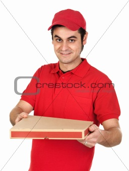 Boy with red uniform delivering a pizza box