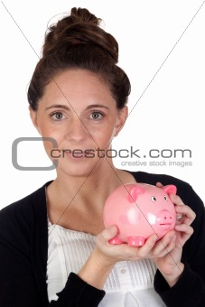 Attractive girl with money box