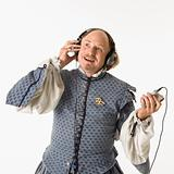 Shakespeare listening to mp3s.