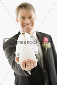 Groom with bride figurine.