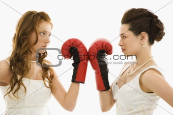 Brides with boxing gloves.