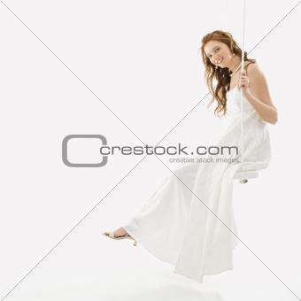 Bride on swing set.