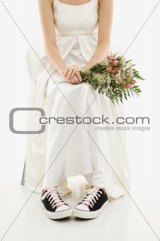Bride wearing sneakers.