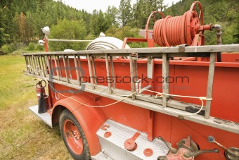 Old fire truck and ladder.
