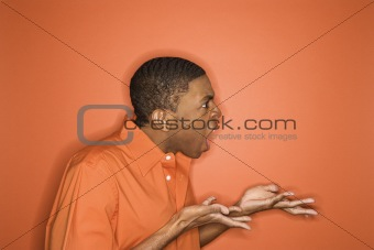 African-American man expressing anger.