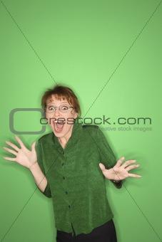 Caucasian woman gesturing.