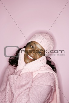 African-American woman wearing winter attire.