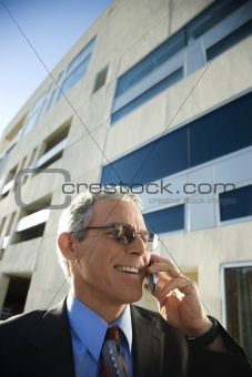 Businessman talking on cellphone.