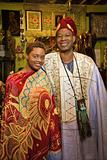 Portrait of father and daughter wearing traditional African clot