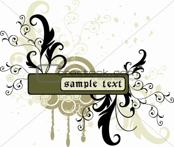 Abstract  floral frame, element for design, vector illustration
