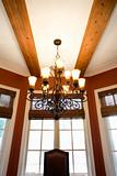 Perspective of dining room windows in affluent home.