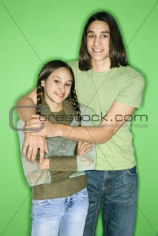 Asian-American girl and teen boy portrait.
