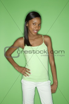 African-American teen girl with portrait.