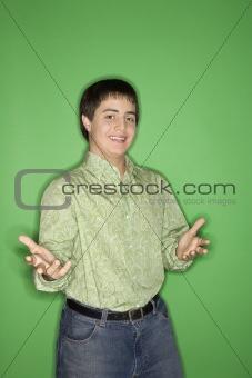 Caucasian teen boy portrait.