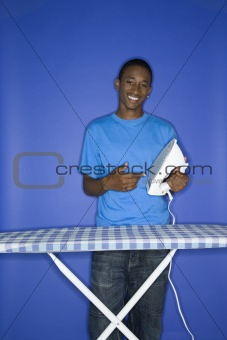 African-American teen boy with iron.