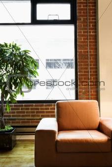 Chair in loft apartment.
