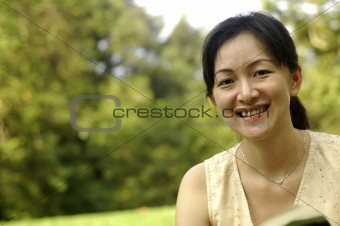 Chinese lady in garden