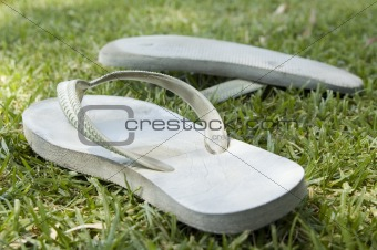 Thongs on grass on a summer day