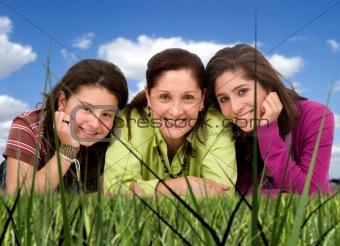 Happy Family portrait outdoors