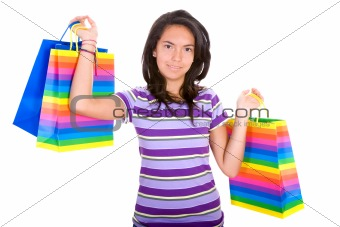 Casual teenager with shopping bags