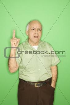 Man holding up one finger.