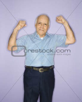 Man flexing muscles.