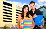 couple outside a shopping centre