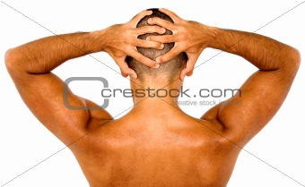 muscular man showing his back muscles