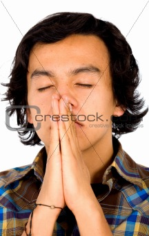 casual man praying