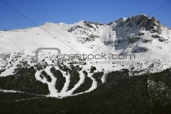 Ski resort trails on mountain.