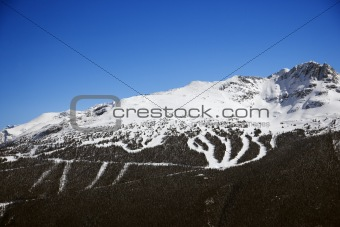 Ski resort trails on mountain.