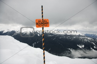 Ski area trail boundary sign.