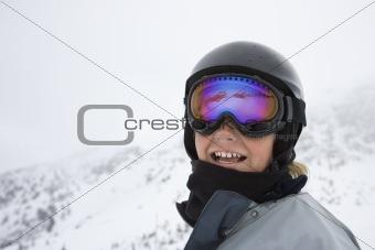 Boy skier on ski trails.
