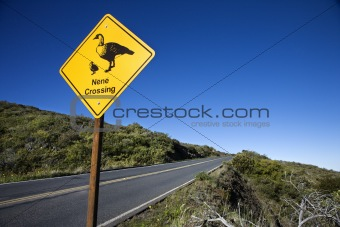 """Nene Crossing"" road sign in Maui, Hawaii."