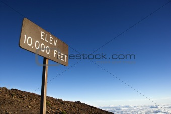 Elevation sign in Haleakala National Park in Maui, Hawaii.