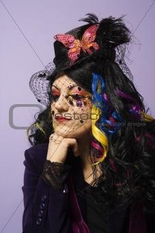 Portrait of unique Caucasian woman.