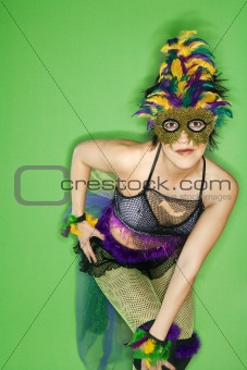 Woman in Mardi Gras type costume.
