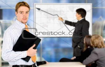 businessman on a business presentation